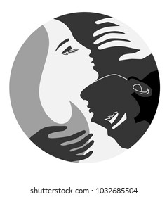 Couple Unity Concept Yin and Yang, man and woman, love, emblem style symbol, round shape, peace, comfort, rest. Black, white, shades of Gray, creative minimalism.