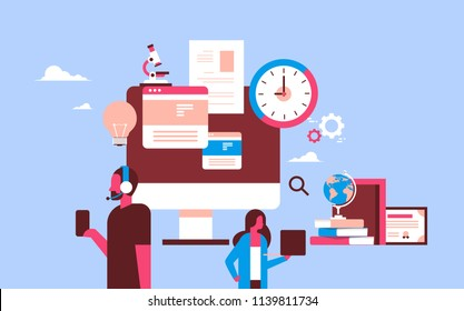 couple using gadgets analysis online education concept man woman portrait flat horizontal vector illustration
