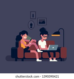 Couple using their mobile devices whilst sitting on couch, flat design vector illustration. Cheerful adult young women  using home Wi Fi access enjoying media content and social network