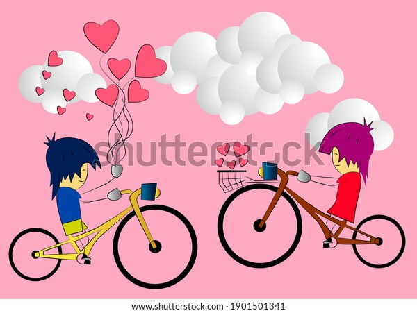 couple valentine background with 3D vector illustration