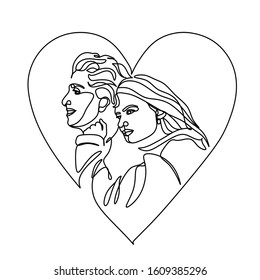 Couple vector  line illustration. Romantic poster. Minimalist logo. valentines day . I love you art. Wedding illustration. One Line darwing. Single line.  couple in love