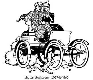 Couple In Vintage Car - Retro Clip Art Illustration