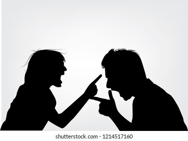 Couple violence. They are angry and shouting face to face