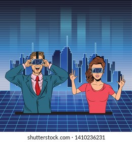couple with virtual reality headset avatar cartoon character with futuristic cityscape background and skyscrapper vector illustration graphic design