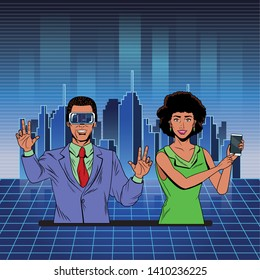 couple with virtual reality headset and cellphone avatar cartoon character with futuristic cityscape background and skyscrapper vector illustration graphic design