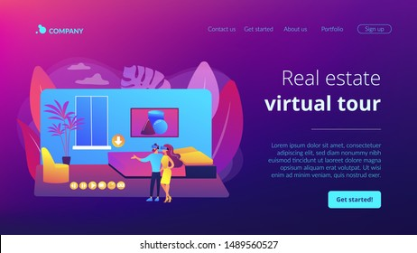 Couple in VR glasses. Property virtual reality simulation. Real estate virtual tour, VR virtual house tour, virtual tours creating services concept. Website homepage landing web page template.