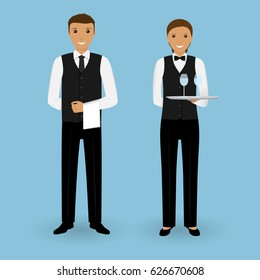 Couple of waiter and waitress with dishes and in uniform stand together. Restaurant team concept. Food service staff. Vector illustration.