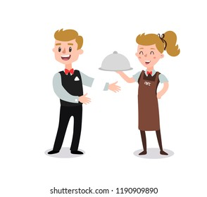 Couple of waiters wearing the uniform. Fun flat cartoon personage. Isolated on white background cartoon character.