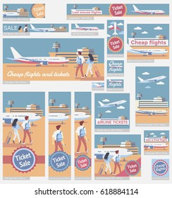 Couple walking to board a plane, airport building, flight tickets advertisement. Set of different  web banners.