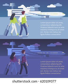 Couple walking to board a plane, airport building in the background. Day and night time. Vector illustration.