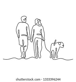 Couple walking with dog continuous line vector illustration