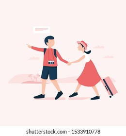 Couple are walking, dragging their luggage tourists spend the holidays to travel abroad. Traveler and lifestyle concept.
