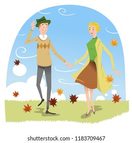 Couple walking on meadow with brown leaves flying through the air on a windy day in fall (vector illustration)