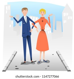 Couple walking on sideway (vector illustration)