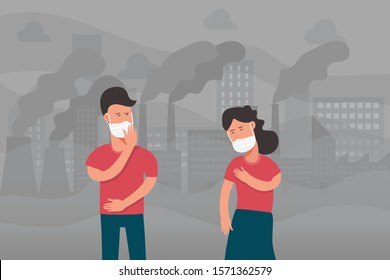 couple walking on street and wearing face masks for protecting from air smoke factory pollution, health problem, pm 2.5, dust, industrial smog, toxic city, cartoon character vector flat illustration.