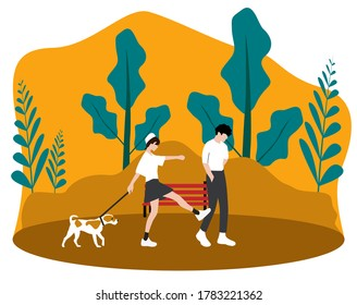 A couple walking in a park with their dog plus reference