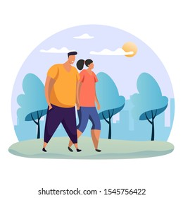 Couple walking at park. Woman and man holding hand at date. Flat or simple people at romantic rendezvous. Female and male at nature, forest or wood. Friends meeting. Dating theme