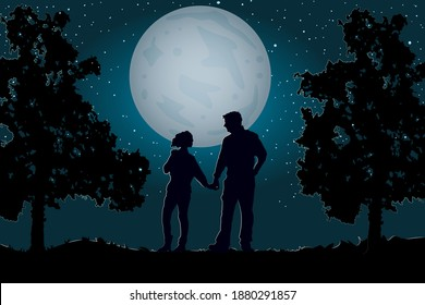 Couple walking together holding hands under the moonlight and starry sky. Valentines Day. Happy Lovers. Romantic silhouette of loving couple in Valentines night. Man and woman in night scene. Vector