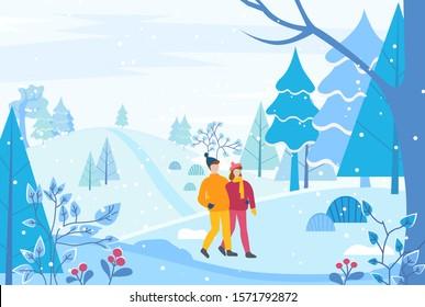 Les deux se baladent ensemble dans un parc d'hiver ou une forêt. Des gens se serrant les uns contre les autres, homme et femme en rendez-vous romantique en bois de neige. Personne avec un ami en vêtements chauds comme un chapeau et un manteau. Illustration vectorielle