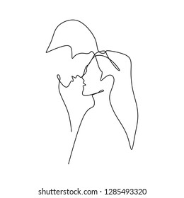 Couple want to kiss each other. Concept of a couple falling in love and shows their emotions. Good for Valentine banner with one continuous line art drawing vector illustration minimalism style.