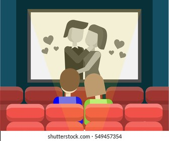 Couple watching retro old black and white film at the cinema. Man and woman at the cinema. Valentine's day love film