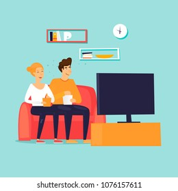 Couple watching the series. Flat design vector illustration.