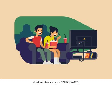 Couple watching television together. Adult young man and woman enjoying good movie at home. Movie night concept flat vector illustration