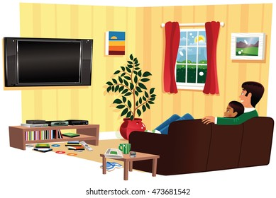 Couple watching TV in living room.