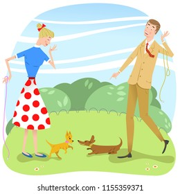Couple watching while their dogs are playing with each other in park (vector illustration)