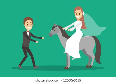 Couple wedding. Bride on the horse and groom. Romantic people and white dress for ceremony. Isolated flat vector illustration