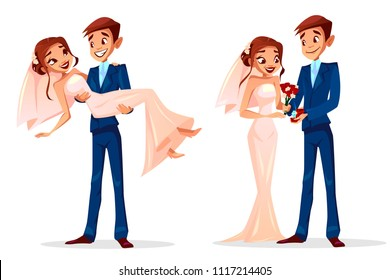 Couple wedding vector illustration of man and woman just married for greeting card design template. Happy bridegroom with diamond ring, holding bride on hands in wedding dress with red roses flowers