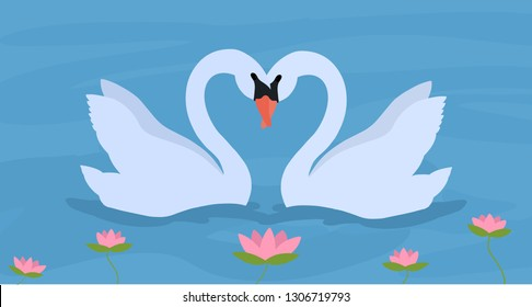 Couple of white swans  in lake with lotus. Floating wild birds in love. Hand drawn vector illustration.
