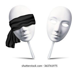 Couple of white vector blindfolded masks for mafia game