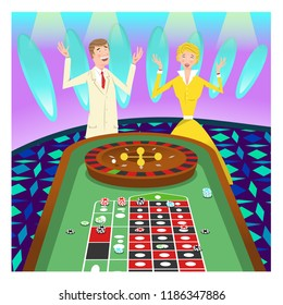Couple winning at roulette in casino (vector illustration)