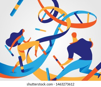A couple of woman and man inside DNA helix