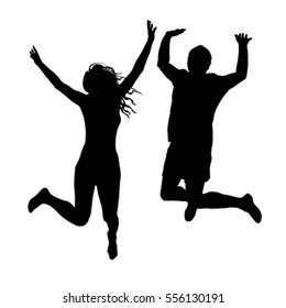 Couple of woman and man silhouettes jumping