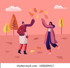 Couple of Women in Autumn Park Having Fun Walking Jumping on Puddles and Playing with Fallen Autumn Leaves among Colorful Trees. Fall Season Outdoor Activity, Leisure. Cartoon Flat Vector Illustration