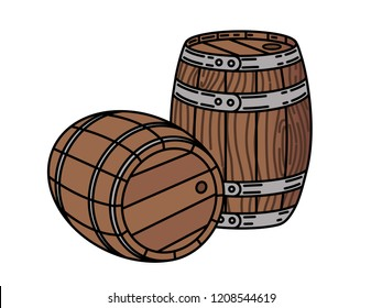 Couple of wood wine or whiskey barrels Stylish Single Weight Line Art Logo Vector illustration isolated on white
