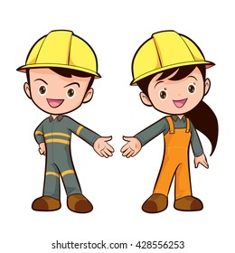 Couple of workers characters friendly smiling standing isolated
