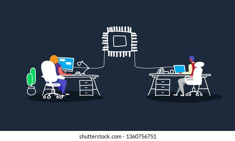 couple working at computer monitor man woman sitting at workplace desk artificial intelligence technology cpu chipset circuit board network connection sketch doodle horizontal