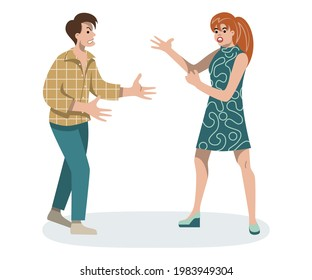 Couple yell at each other. Man and woman argue. Guy and girl swear. Negative emotions. Home conflict. Wife blames husband. Flat illustration on isolated white background.