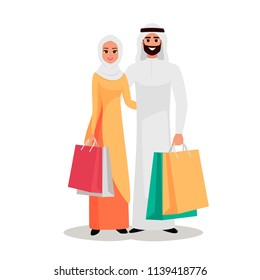 Couple of young Arabian people with the packages. Happy Arab family is shopping. Joy Moslem woman and man holding shopping bags. Vector illustration isolated from background