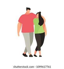 Couple of young people in a flat style. Man and woman are embracing. Modern youth in casual clothes. Vector illustration.