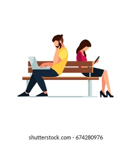 Couple of young people in a flat style of sitting on the bench. Man and woman reading with a tablet pc and a laptop. Couple people isolated on white background. Vector illustration.