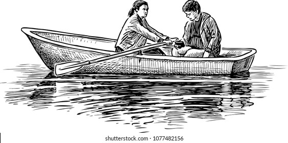 A couple of young people on a boat trip