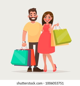 Couple of young people shopping. Man and woman with packages. Vector illustration of a cartoon style