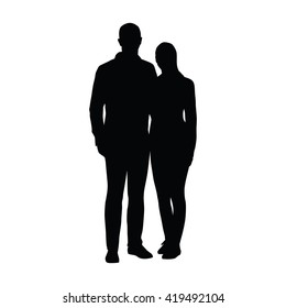 Couple of young people standing side by side. Two lovers embracing. Vector silhouette of boyfriend of girlfriend