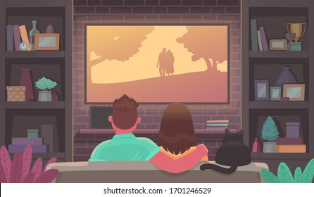 Couple of young people watching TV. Man and woman in a cozy atmosphere watch a movie. Stay at home. Advertising streaming service or online cinema. Vector illustration in cartoon style