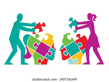 Couple,psychology of understanding and dialog, puzzle concept.  Two Male stylized head silhouettes with puzzle speech bubble symbolizing psychological processes of dialogs. Vector available.