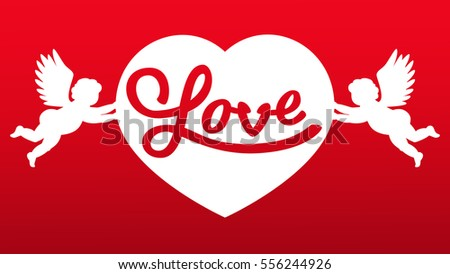 couples angels holding heart symbol love stock vector royalty free